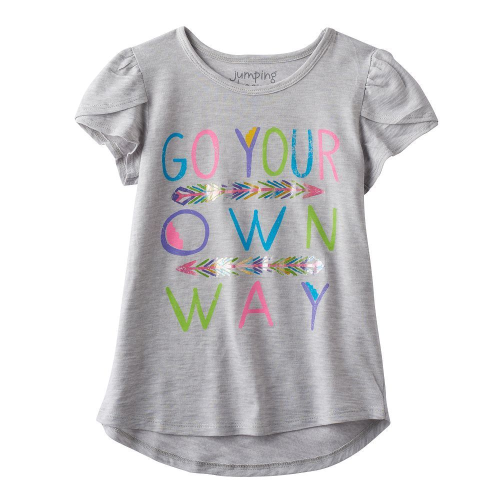 Girls 4-10 Jumping Beans® Glitter Graphic Tee, Size: 10, Med Grey