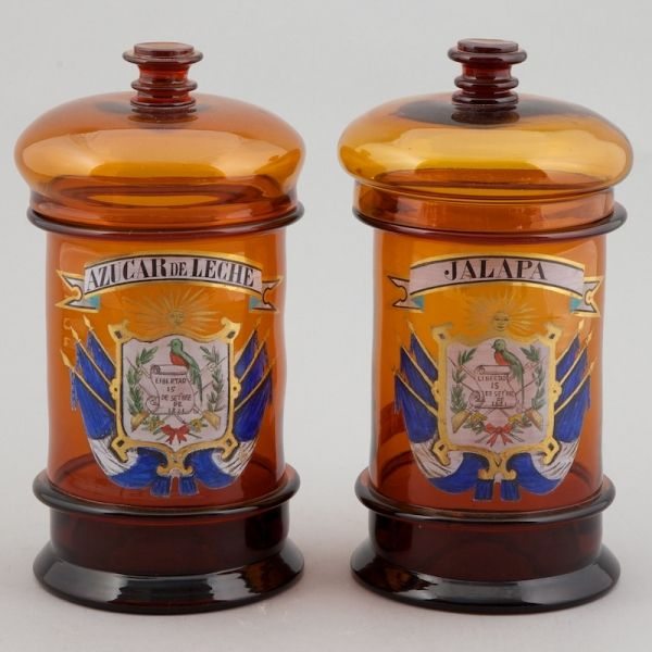 Pair of Brown Glass Hand Embellished Apothecary Jars :: visit us at http://www.ocean-grove-Nj.com