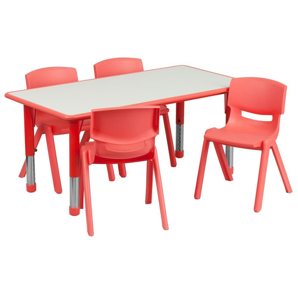 Carnegy Avenue Red 5 Piece Table And Chair Set Cga Yu 20691 Re Hd Table Chair Sets Kids Table Chairs Table Chairs