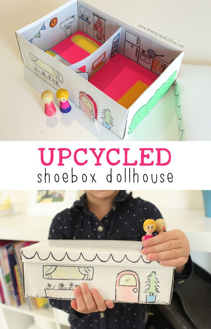 Upcycled Shoebox Dollhouse Mama Papa Bubba Diy Craft  # Bubba Muebles Infantiles