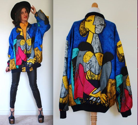 c16cfb3b8 Vintage 80s 90s Two Halves Make a Whole Picasso Satin Bomber Jacket ...