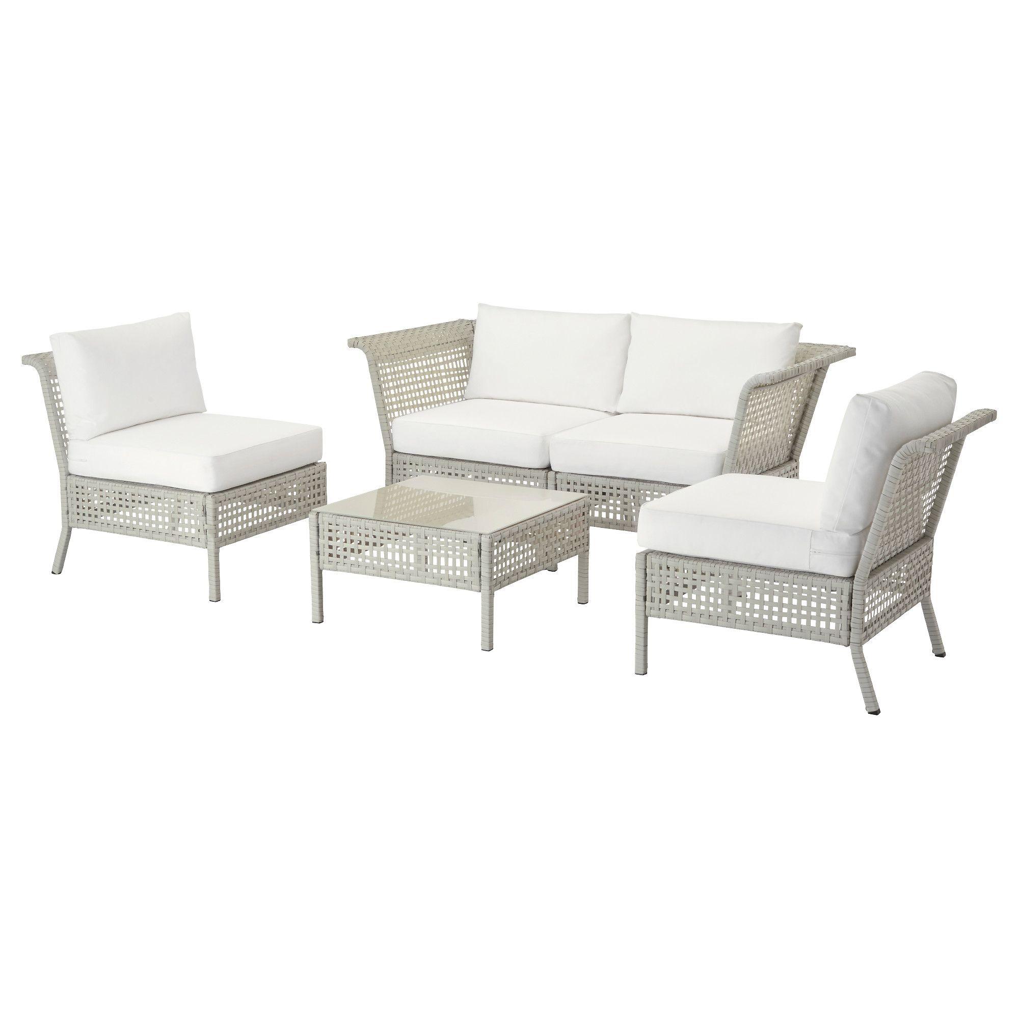 Ikea gartenmöbel weiß  KUNGSHOLMEN / KUNGSÖ, 4er-Sitzgruppe/außen, hellgrau, weiß Jetzt ...