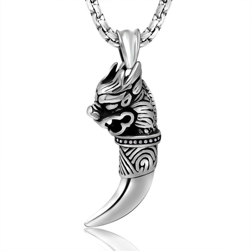 Color Printing Tiger Agate Gemstone Pendant Necklace H1902 0656