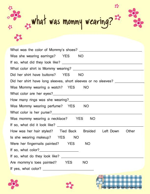 Free Printable What Was Mommy Wearing Game In Yellow Color