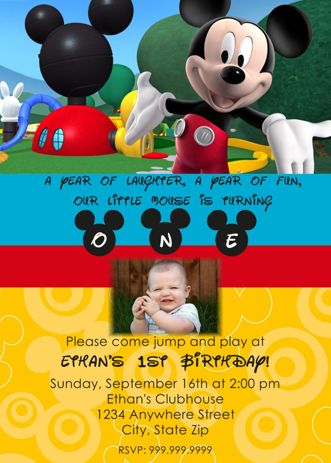Mickey Mouse Clubhouse Personalized Invitation 1300 via Etsy