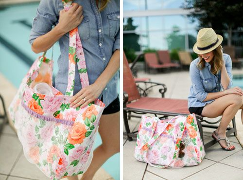 Oilcloth Pool Tote with Mesh Pockets | Wachstuch / oilcloth DIY ...