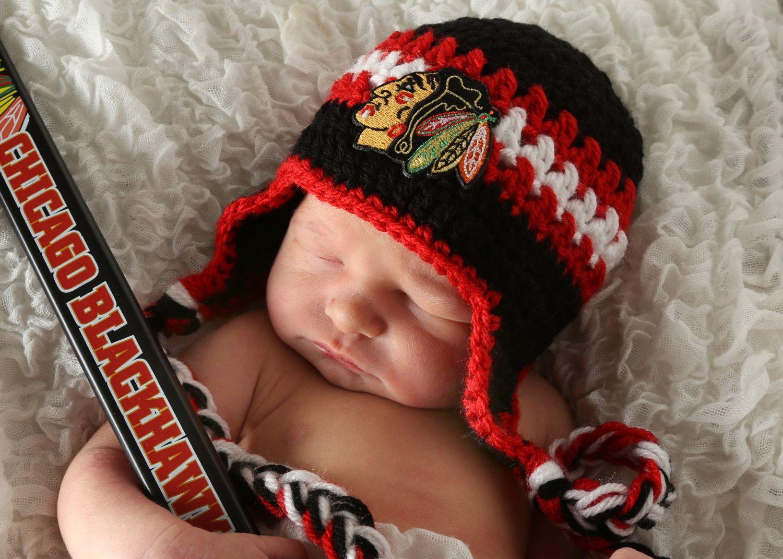 Handmade Newborn Chicago Blackhawks Crochet Earflap Hat with Blackhawks Patch / NHL Baby / Photo Prop / Item 1900