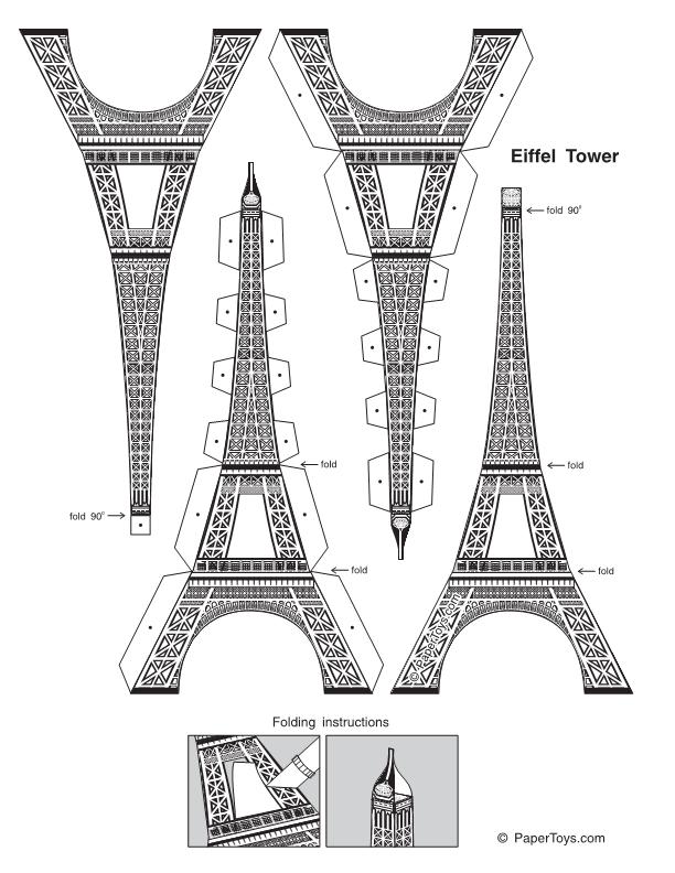 Resultado De Imagen Para Molde De Torre Eiffel Para Imprimir Com