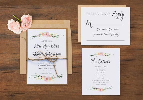 Romantic Watercolor Floral Wedding Invitations  by paperandlace