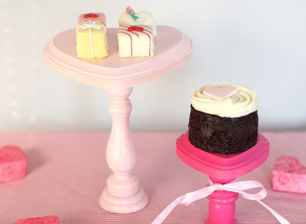 Serve your Valentine's sweets on these super-cute mini cake stands. #valentine
