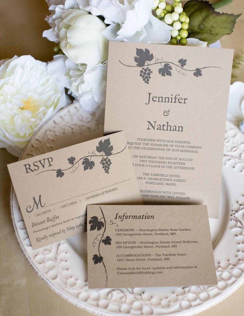 Printable Wedding Invitation Template, Rustic wedding
