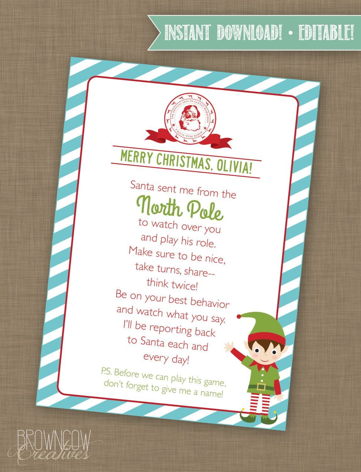 EDITABLE Elf Letter/ Elf Printable with Envelope Elf