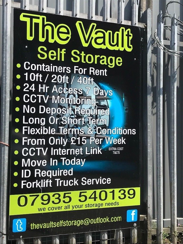 The vault 10ft containers £50/month Self storage