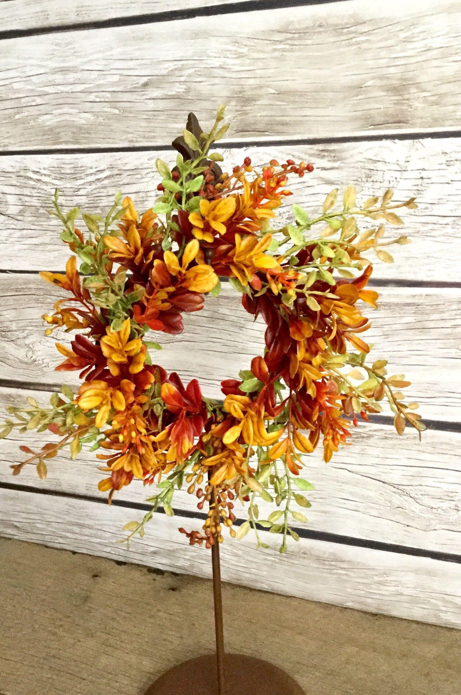 Fall Boxwood Wreath, Fall Farmhouse Wreath, Candle Ring