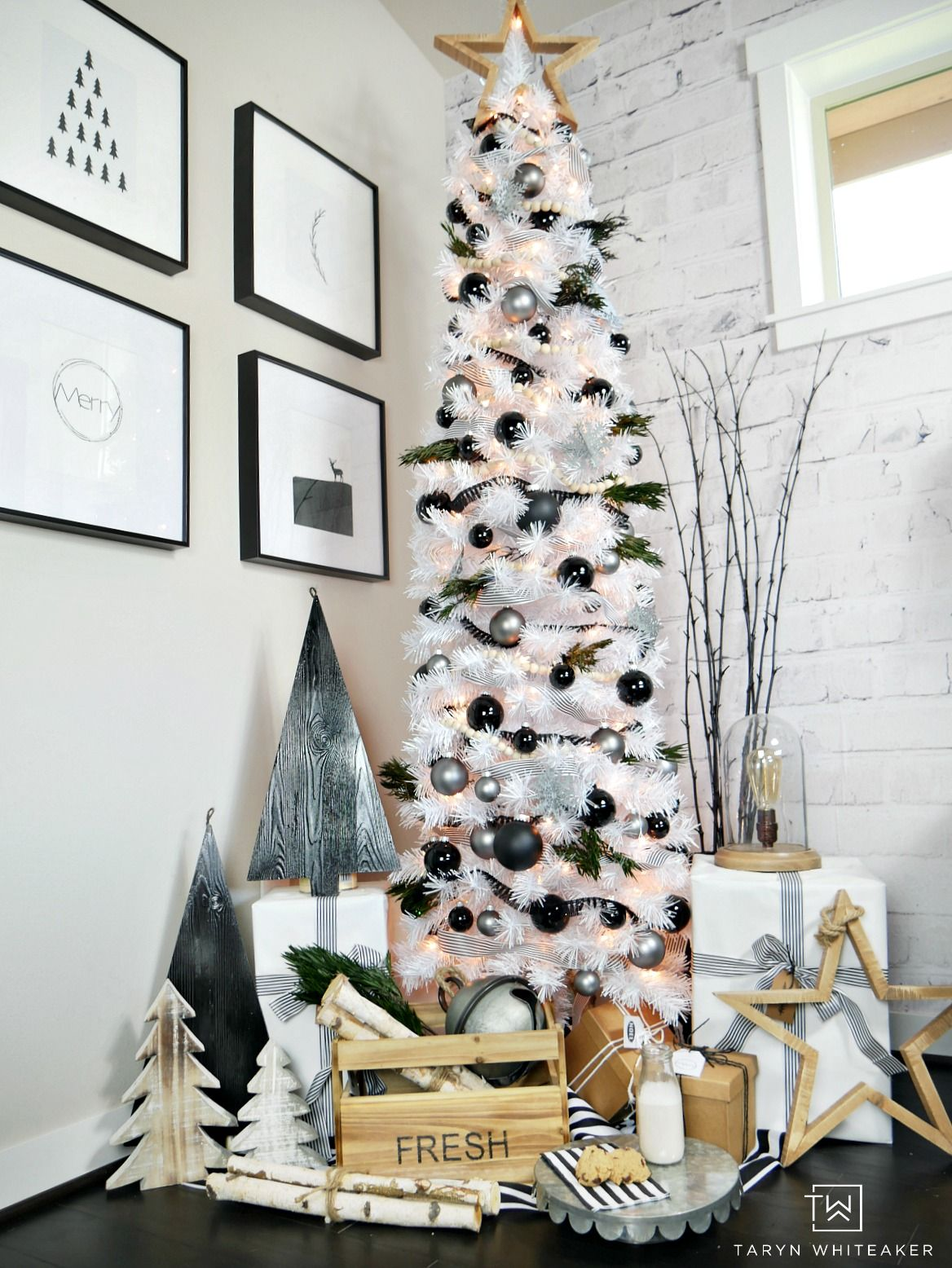 Modern Black And White Christmas Tree Taryn Whiteaker White Christmas Decor White Christmas Tree Decorations Christmas Tree Decorations