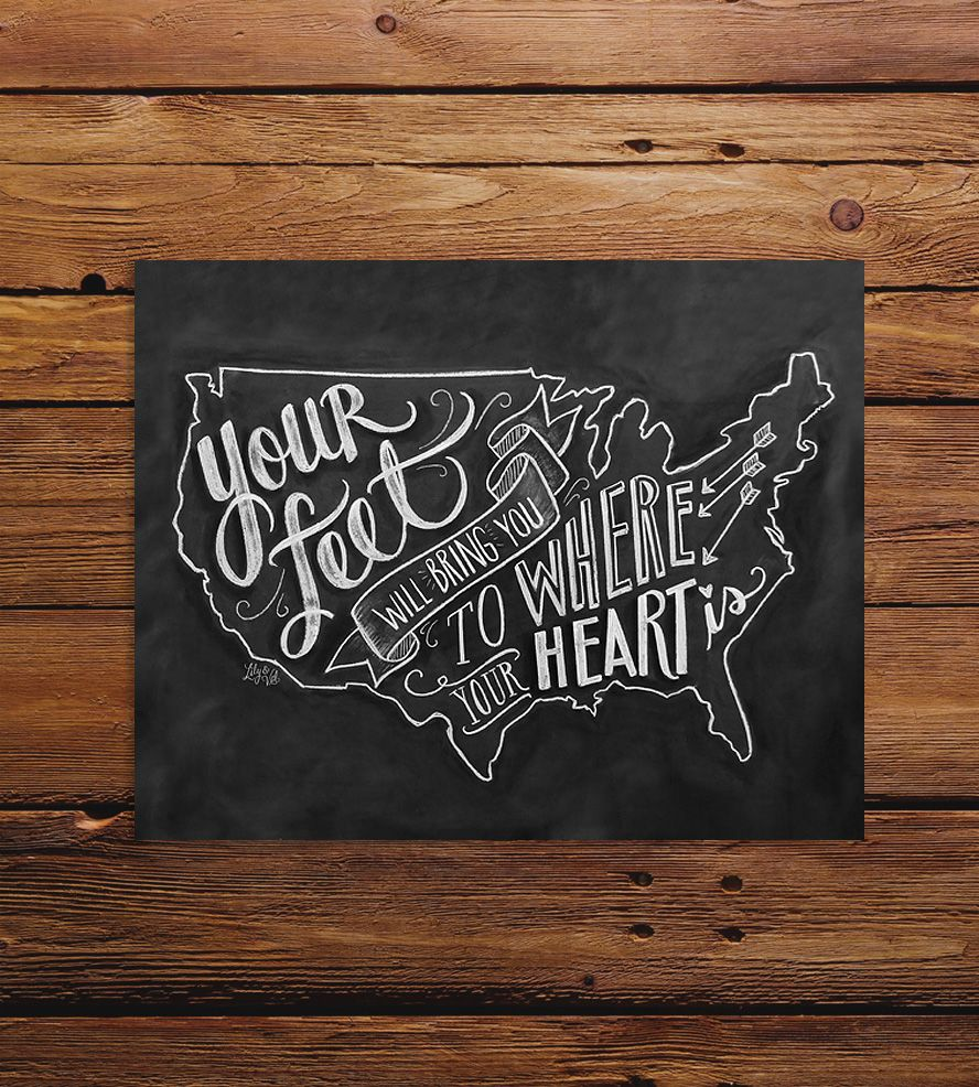 Your Feet US Map Chalkboard Art Print Chalkboards - Us map chalkboard