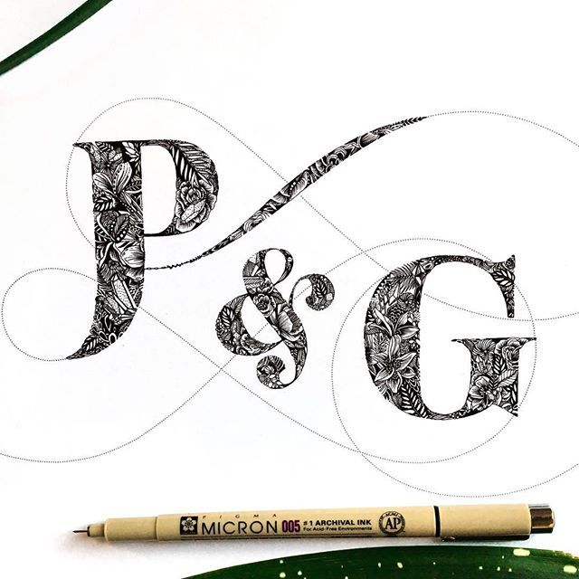 Black And White Letter Illustration With Botanical Patterns A Lovely Ampersand