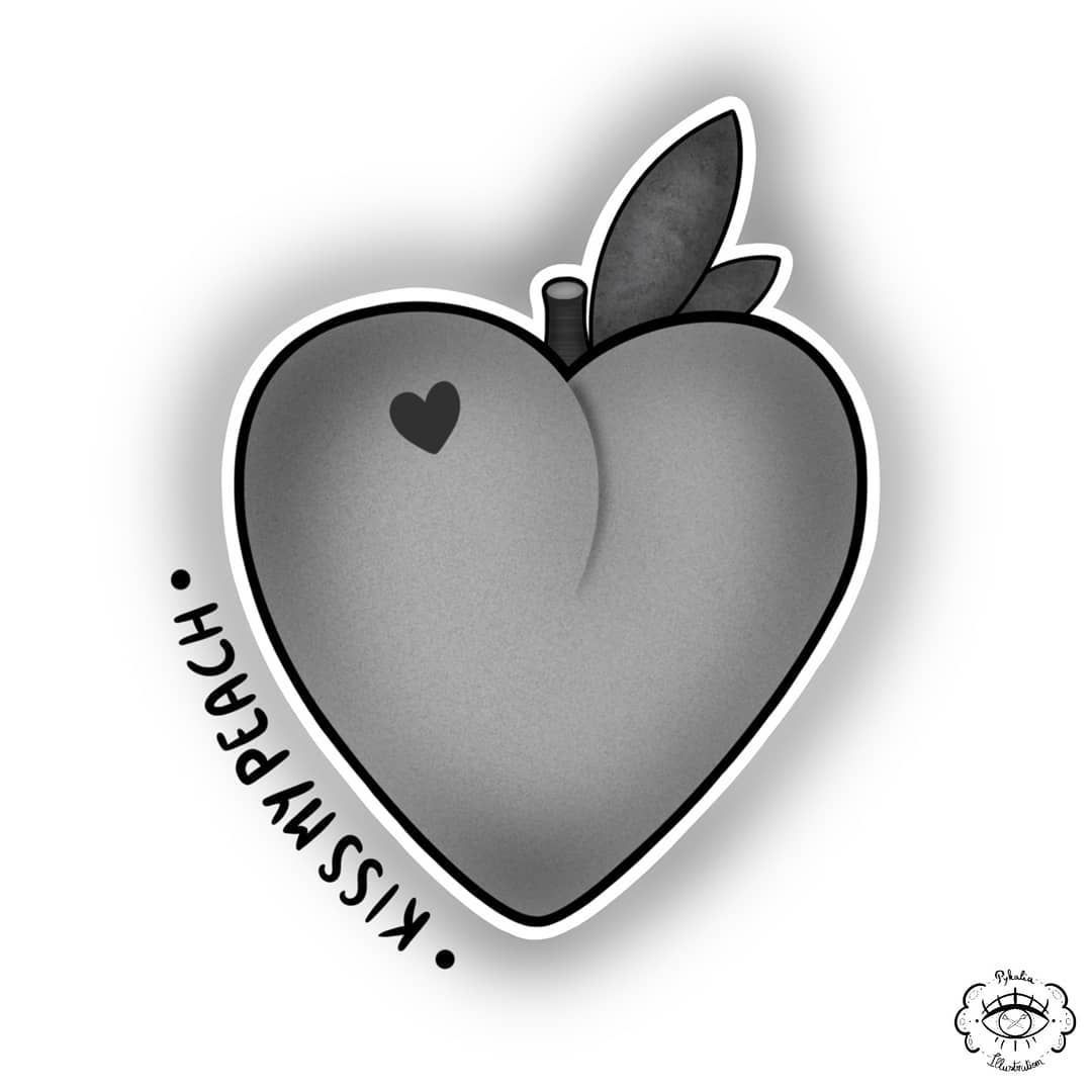Do you want to kiss my peach ? 👀🍑💋 . . . . . ✍️ : Mark Brodhuber #mywork #creation #tattoo #tattoodrawing#brodhuber #creation #kiss #mark #mywork #peach #tattoo #tattoodrawing