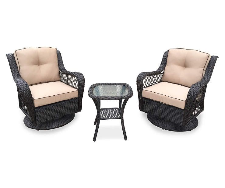 Fabulous Pinehurst 3 Piece Resin Wicker Patio Swivel Gliders Table Gmtry Best Dining Table And Chair Ideas Images Gmtryco