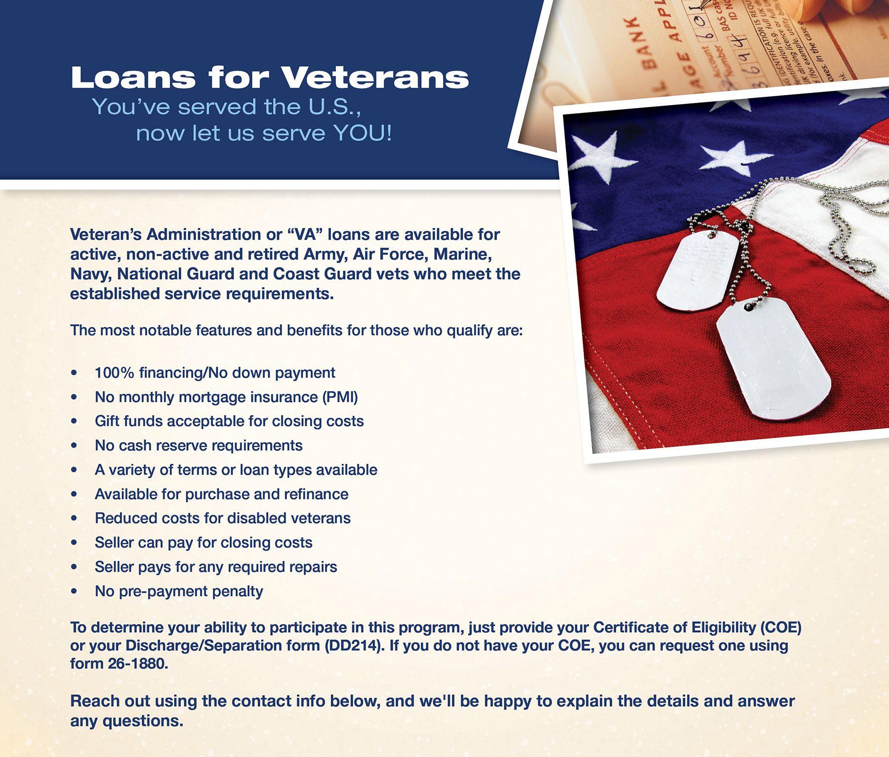 Va Loans Va Loan Veterans Administration Finance Loans