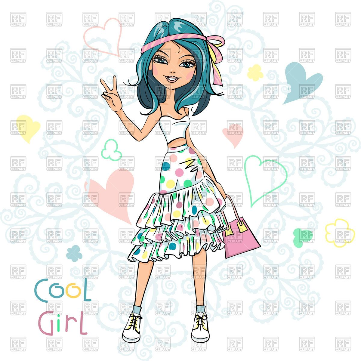 e47703a1926281 Download royalty-free Happy beautiful girl in t-shirt and skirt vector  image 180602