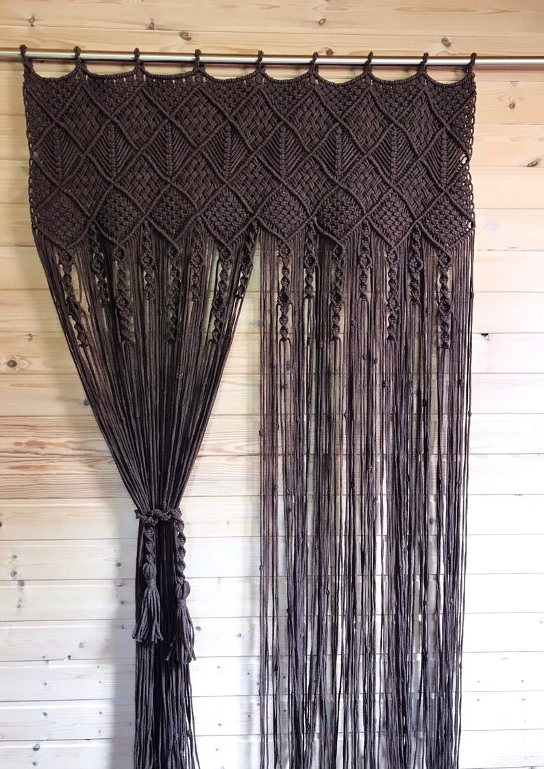 One Or Two Panels Macrame Curtain Macrame Room Divider Macrame