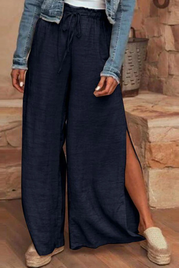 Vintage Solid Self-tie Paneled Slit Wide Leg Pants