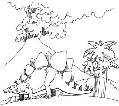 Dinosaur Scenery Volcano Goes Mad Coloring Page Super Coloring