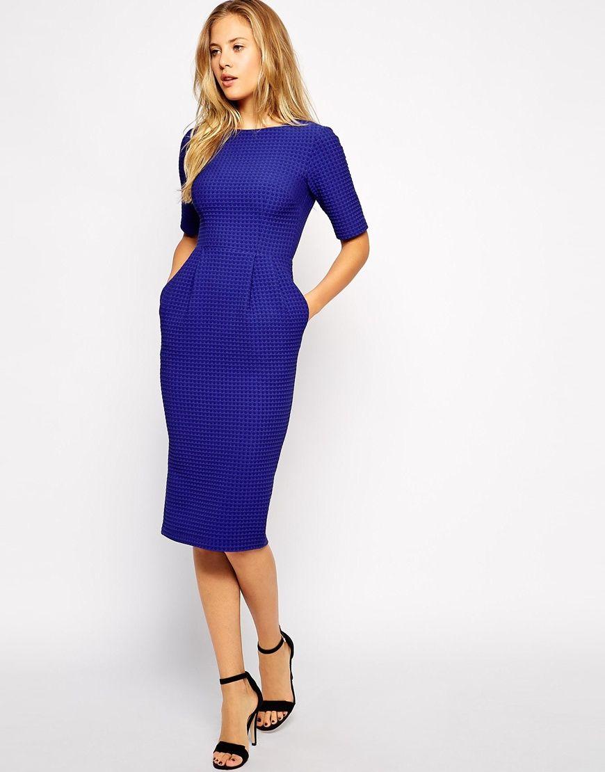 Image 1 of ASOS Midi Wiggle Dress in Texture | fashion | Pinterest ...