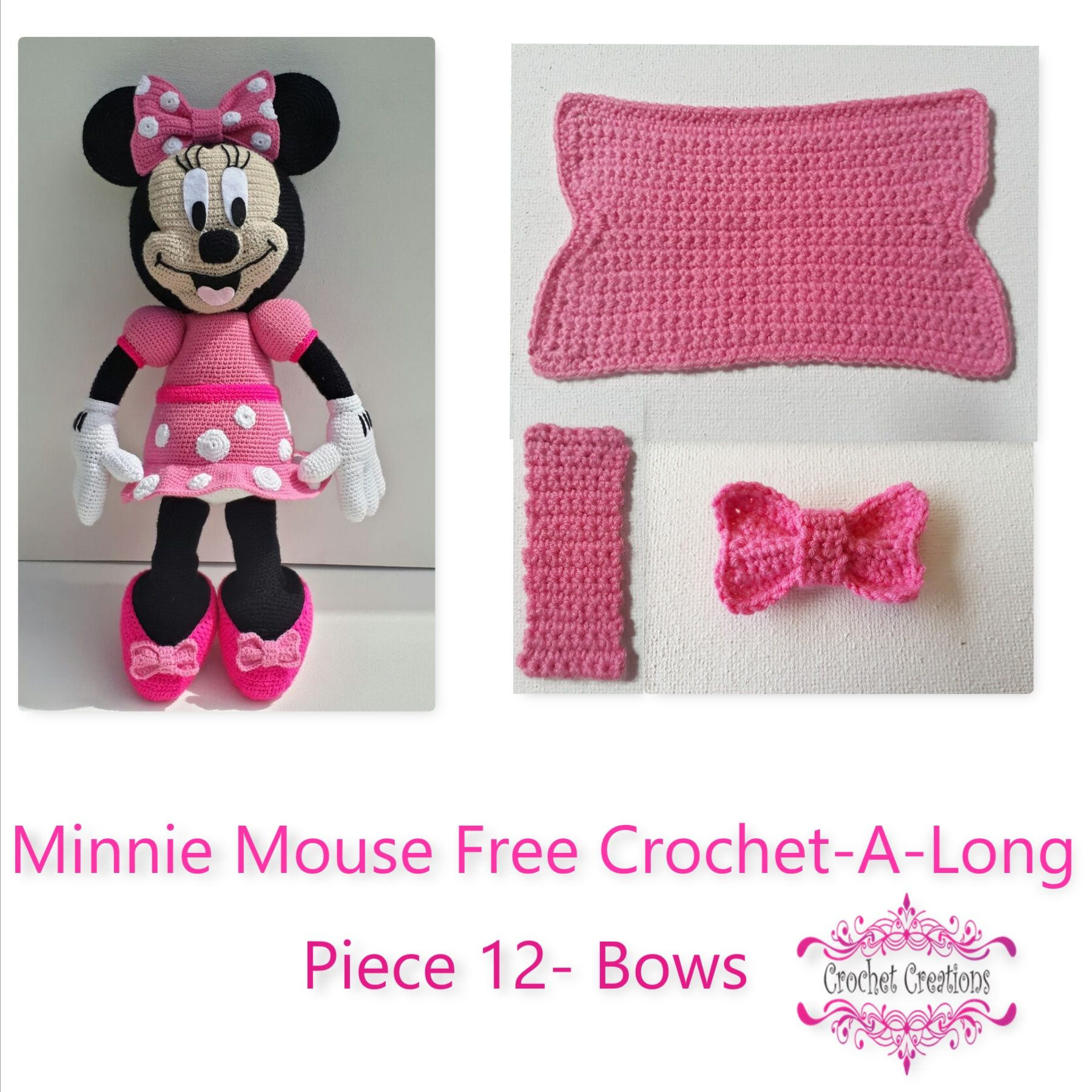 Minnie Mouse Free Crochet-A-Long- Piece 12- Big and small bow ...