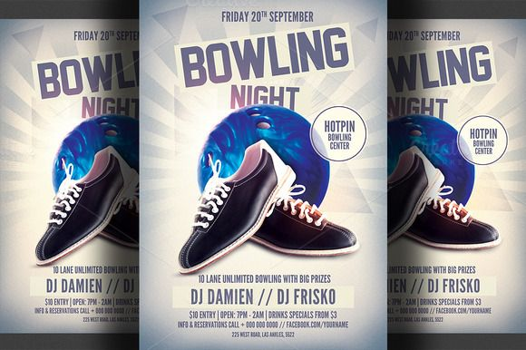Bowling Night Flyer Template Flyer template, Template and Print