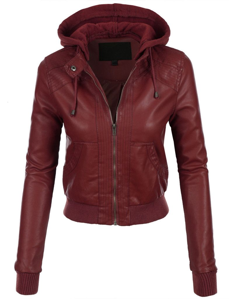 LE3NO Womens Faux Leather Bomber Jacket with Fleece Hood | Fleece ...
