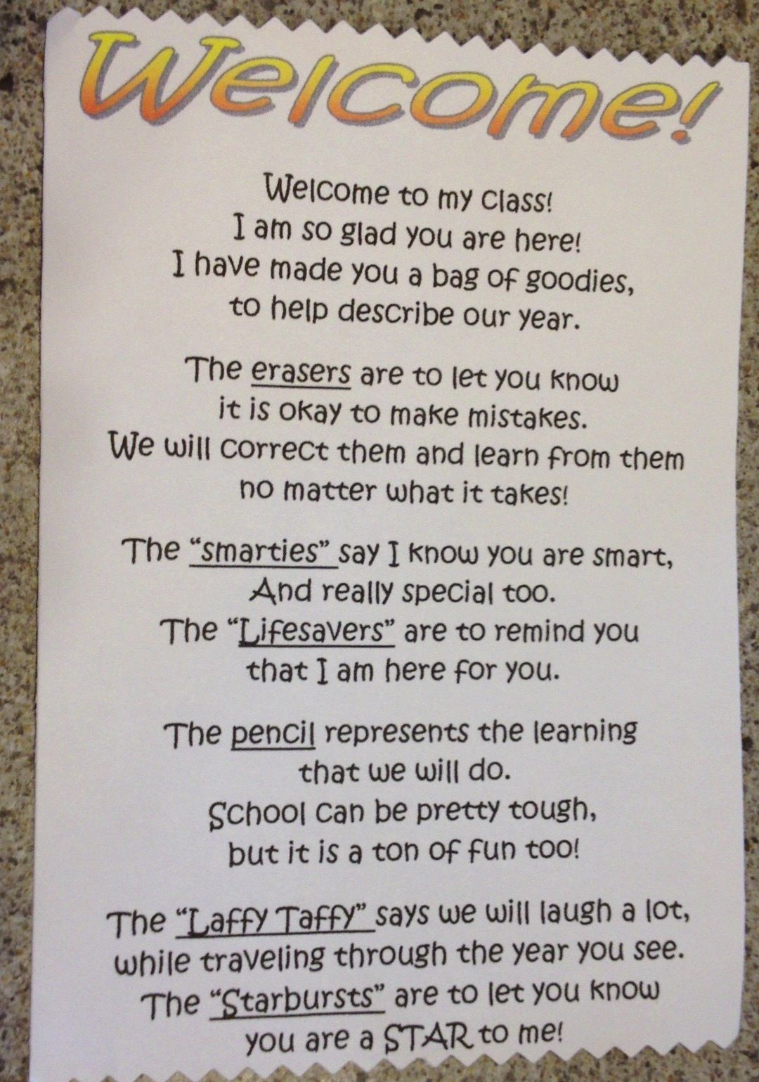 Welcome Note With Goody Bag For Students On First Day Of School