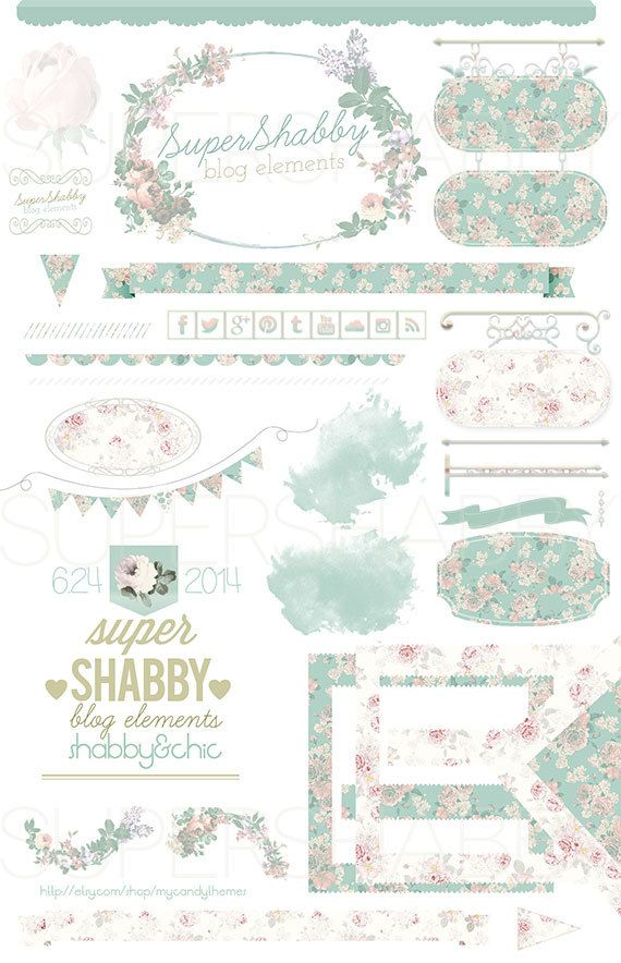 SuperShabby Blog Kit / creation kit. With shabby flowers in pastel ...