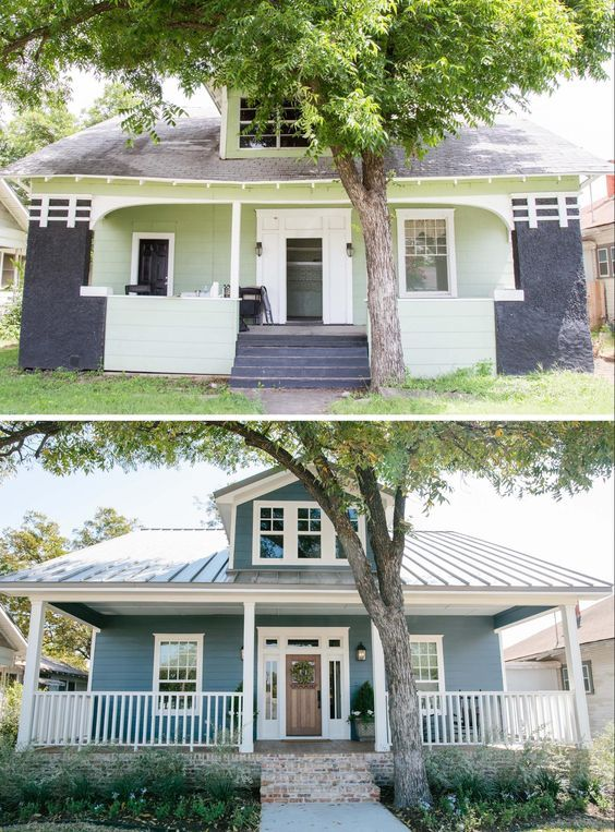 Wonderful before and after photos of this fixer upper craftsman