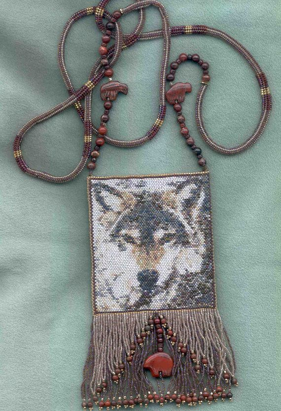 Peyote Beadwork Pattern makes into an amulet bag by debbergs