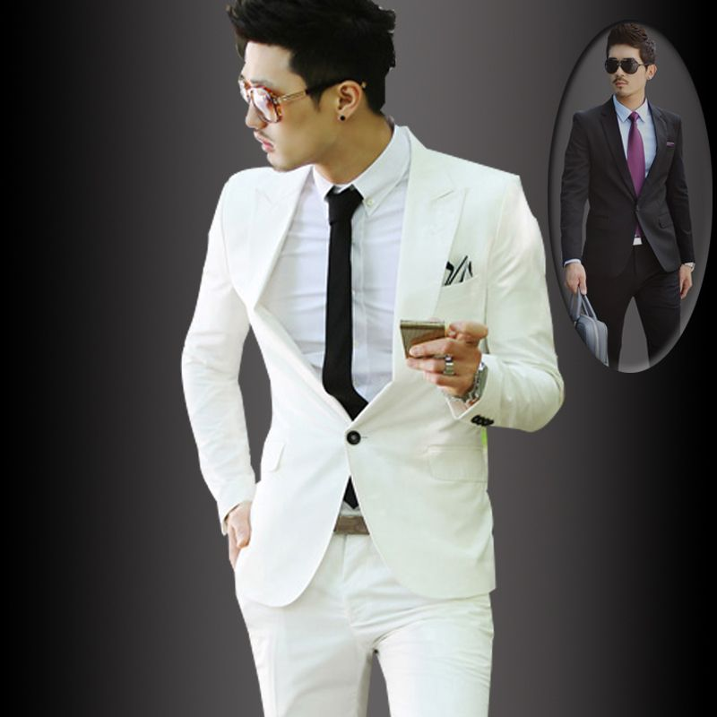new 2014 White casual suits slim male fashion blazer man spring 2014 ...