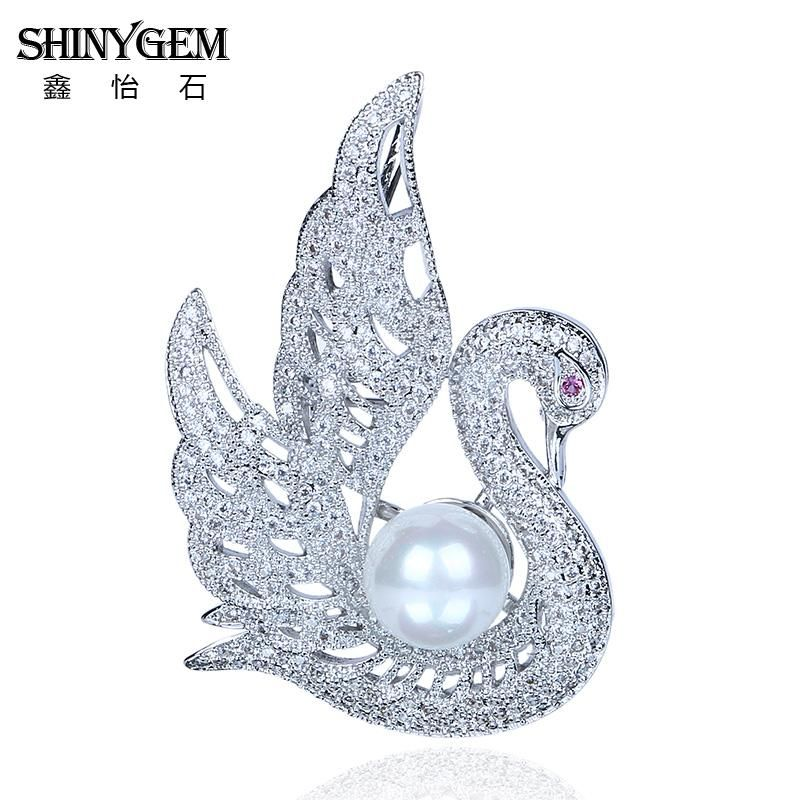 Perfect Wholesale Rhinestone Brooches Matte Silver Swan Imitation Pearl Brooch  Vintage Unique Style Fashion Jewelry For Women