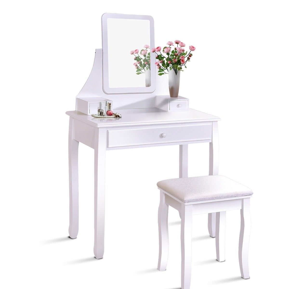 Square Mirrored Vanity Dressing Table Set with 3 Storage