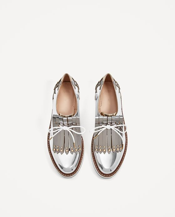 ZARA COLLECTION AW17 SILVER PLATFORM BROGUES WITH