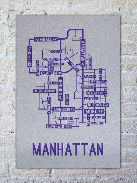 Map Of Manhattan Kansas.Manhattan Kansas Street Map Print School Street Posters Emaw