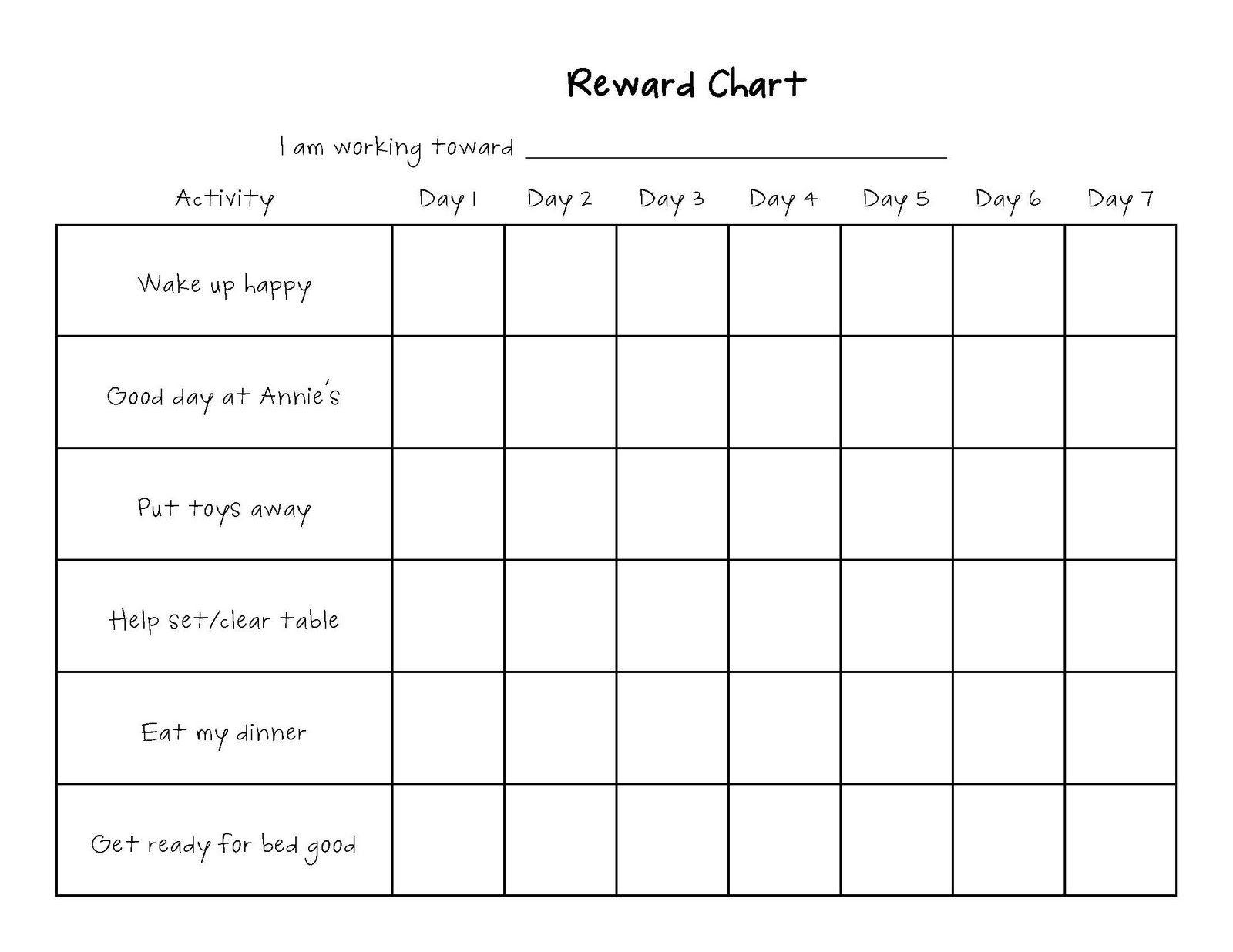 Template for reward chart kendi charlasmotivacionales co