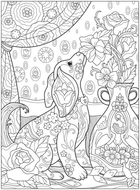 creative haven playful puppies coloring book  dog