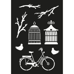 Stencil bike & birdcages