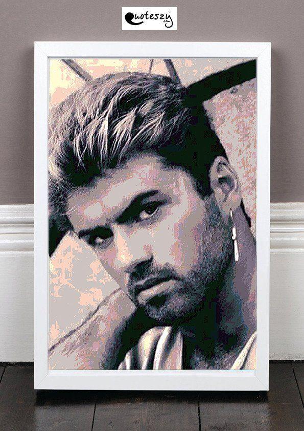 George Michael Print White Frame