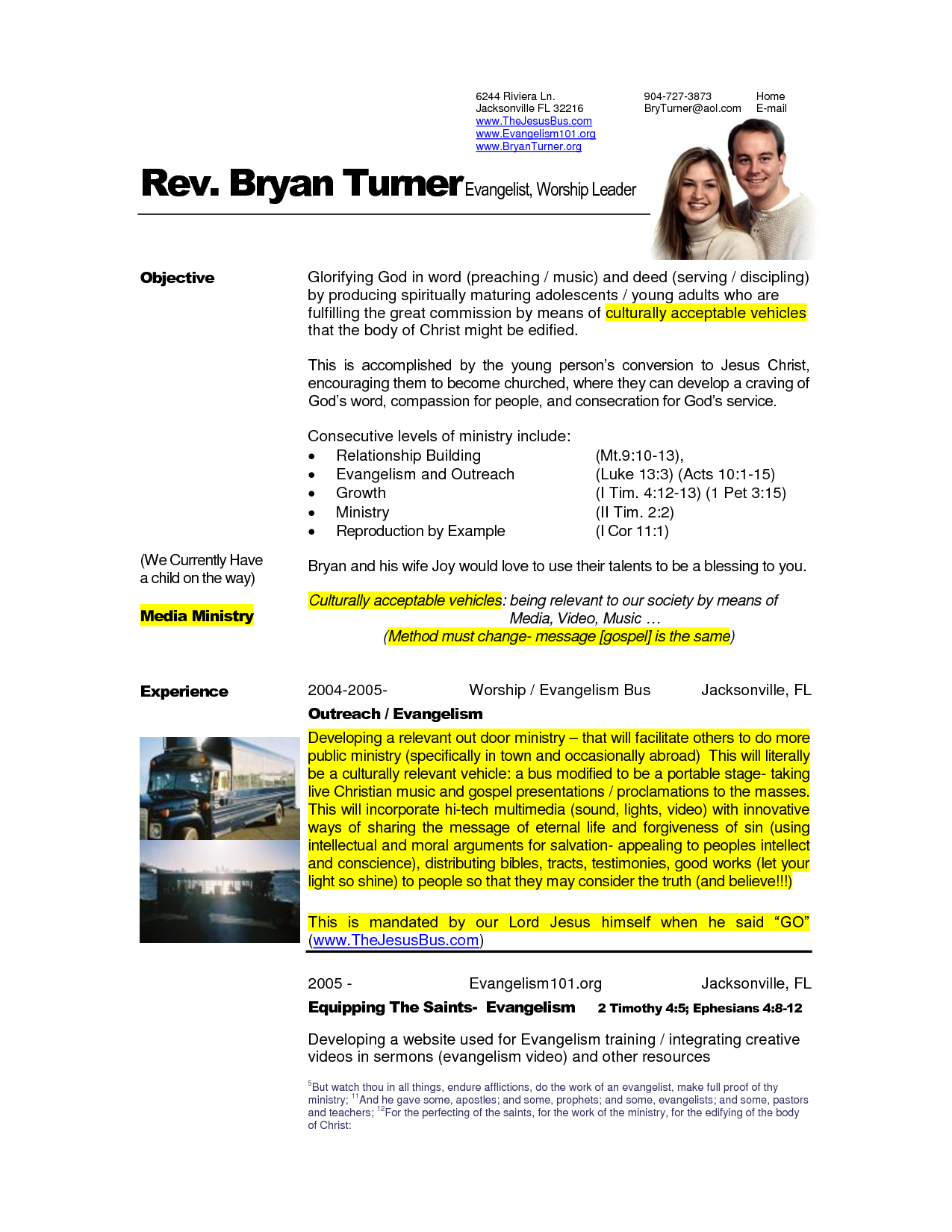Free Examples of Pastoral Resumes | How to Write a Pastor Resume ...