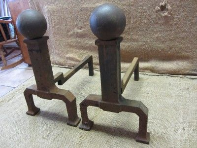 Cast Iron Fireplace Andirons Antique Dogs Mantels Fire Old 6958 ...