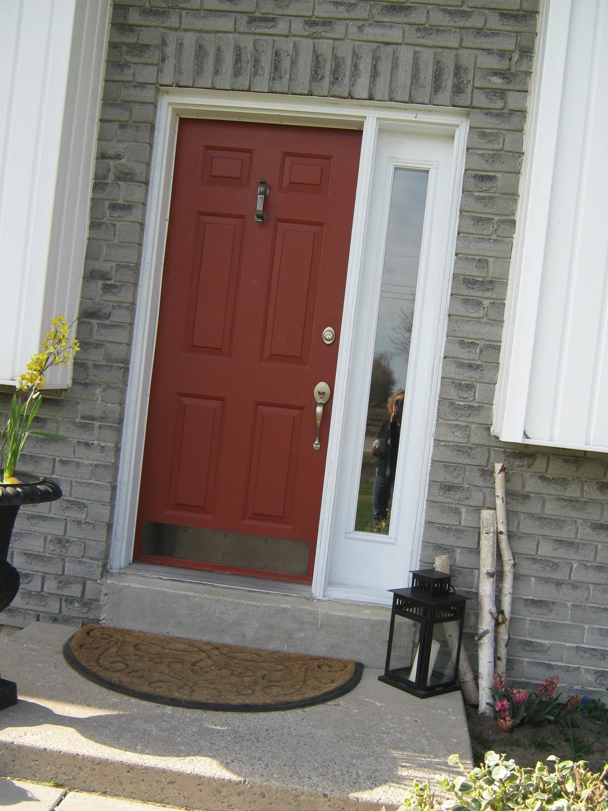 Love Love Love The Burnt Orange Door With Gray We Will Also Be Doing Gray Siding Stone Mix Orange Front Doors Door Color Front Door Colors