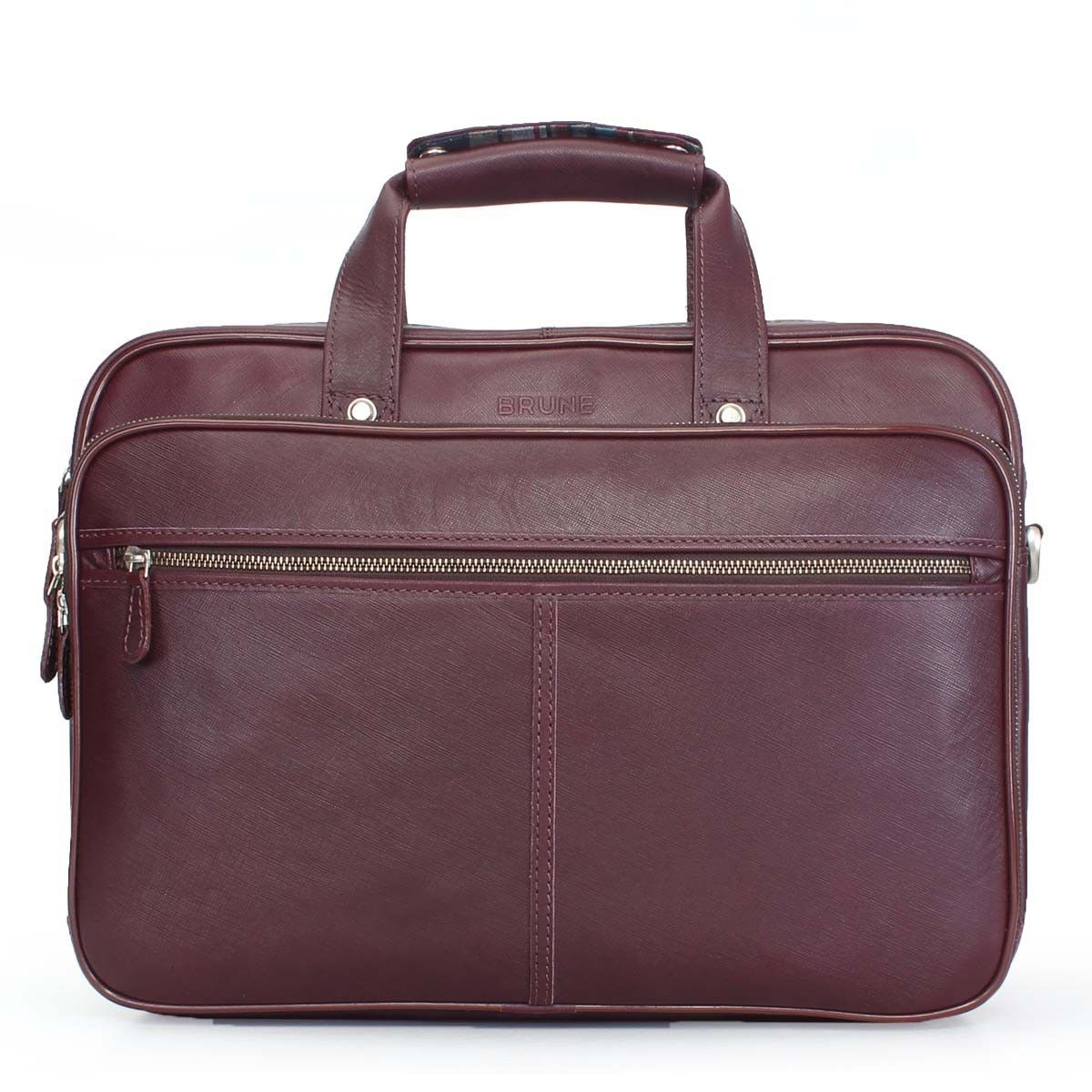 Brune Italian Saffiano Leather Office Briefcase For Men Online At Rs 6 999
