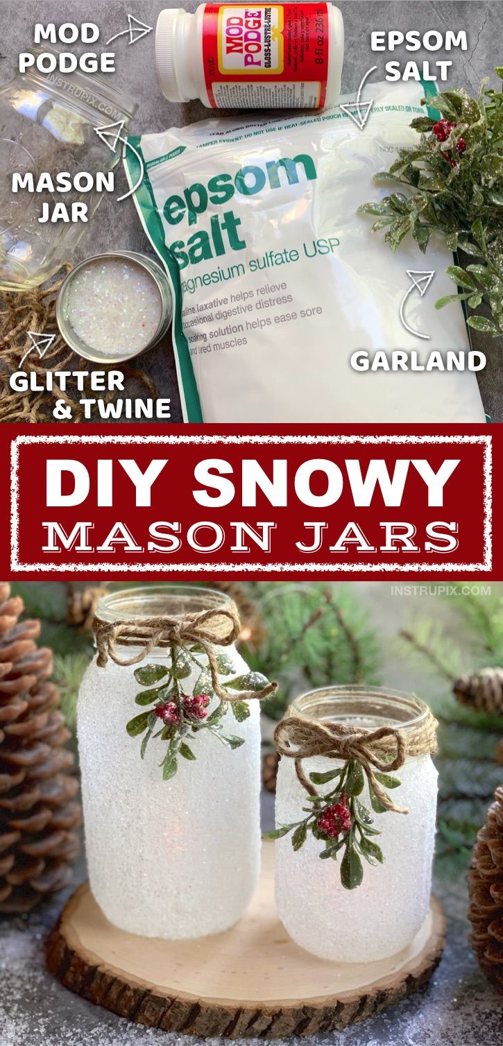 DIY Snowy Mason Jar Luminaries